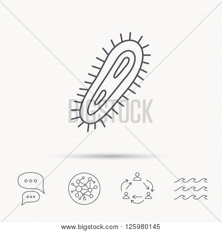 Bacteria icon. Medicine infection symbol. Bacterium or microbe sign. Global connect network, ocean wave and chat dialog icons. Teamwork symbol.