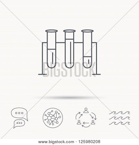 Laboratory bulbs icon. Chemistry analysis sign. Science or pharmaceutical symbol. Global connect network, ocean wave and chat dialog icons. Teamwork symbol.