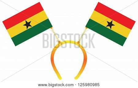 Headdress with a flag of Ghana for holiday.