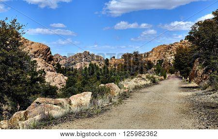 Bike and hiking trail in granite dells of Prescott Arizona USA
