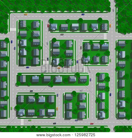 Top view of the city. Top view of the city concept. View from above. Seamless pattern with streets trees houses roads and cars.