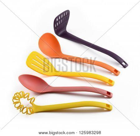 Plastic kitchenware isolated on white
