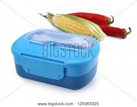 Plastic lunch box isolated on white background.