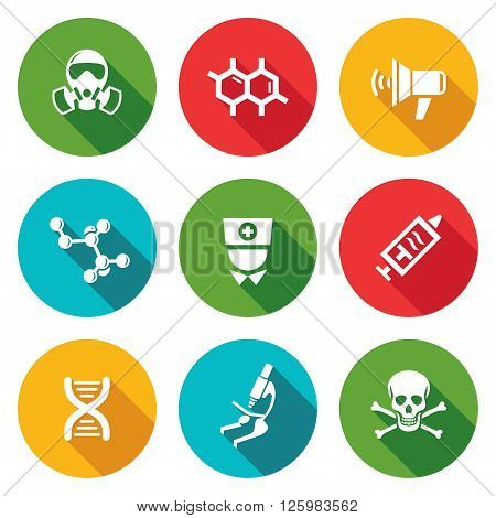 Epidemic protection Icons Set. Vector Illustration. Isolated Flat Icons collection on a color background for design