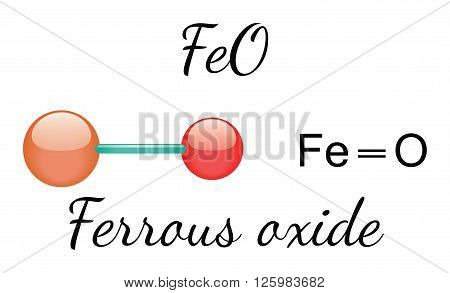 FeO ferrous oxide 3d molecule isolated on white