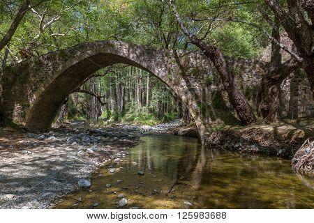 Tzelefos Picturesque Medieval Bridge in Troodos, Cyprus