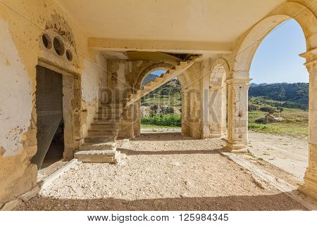 Arches, Entrance And Stairs Of Derelict Agios Georgios Church, Davlos Cyprus