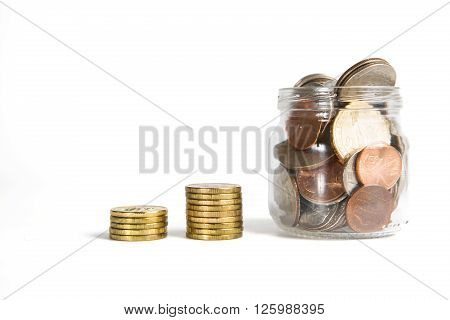 Business Chart Is Made From Golden Coins And Jar Isolated