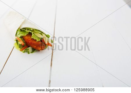 Fresh Wrap Sandwich With Chicken And Vegetables
