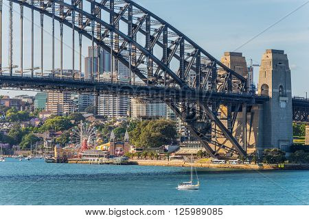 Sydney Australia - November 7 2014: City of Sydney Cityscape and Harbour Bridge Sydney NSW Australia.