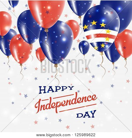 Cape Verde Vector Patriotic Poster. Independence Day Placard With Bright Colorful Balloons Of Countr