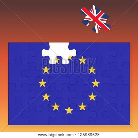 European Union flag missing United Kingdom Great Britain jigsaw puzzle piece Brexit EU sunset