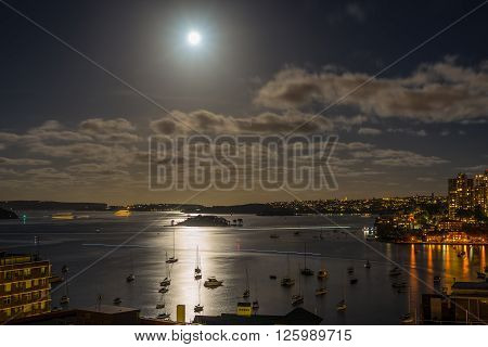 Sydney Harbour in the moonlight with water reflections - Long exposure