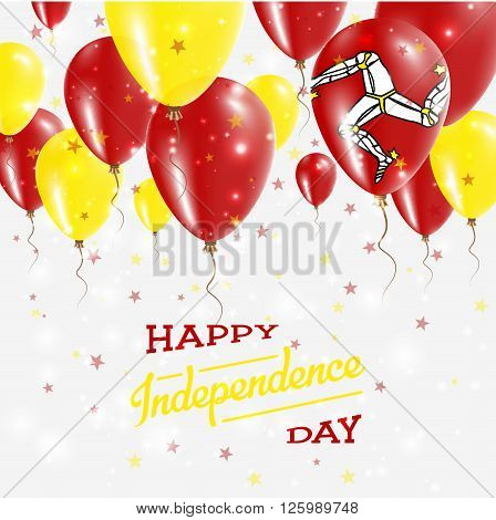 Isle Of Man Vector Patriotic Poster. Independence Day Placard With Bright Colorful Balloons Of Count