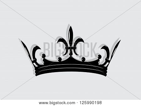 icon crown. Silhouette of a black crown on a gray background