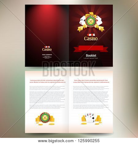 booklet catalog brochure folder casino european roulette money poker cards game red black background