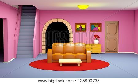 cartoon living room with sofa in child style. 3d illustration