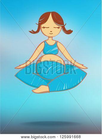 Flying meditating pregnant woman. Stock illustration for design