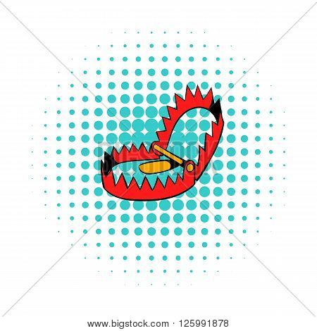 Sharp metal trap icon in comics style on a white background
