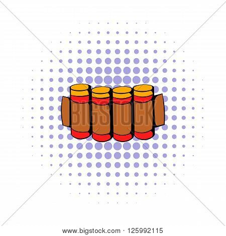 Cartridges hunting ammunition icon in comics style on a white background