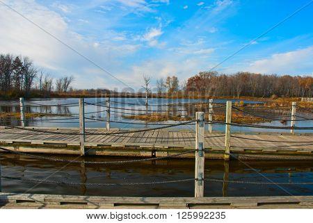 Pontoon bridge to observe the birds on Horicon MarshWisconsin