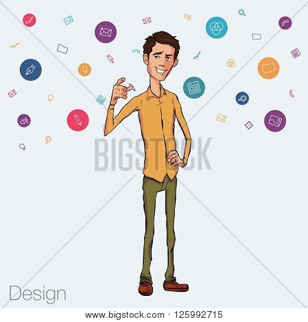 Speech presentation of business product, project, speech at conference. Handsome man wit balloon isolated of website. Storytelling in vector balloon. Vector isolated illustration balloon with guy