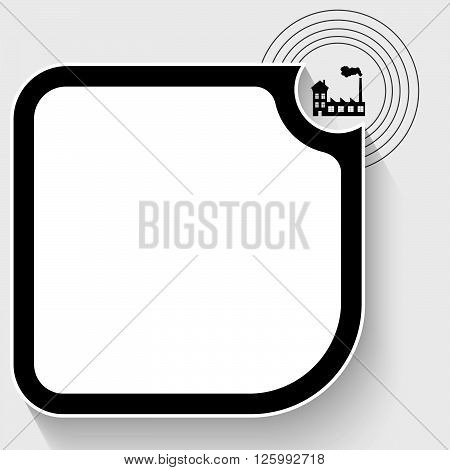 Black text box for your text and factory icon