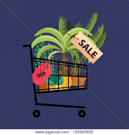 Florist shop.Shopping cart with plants.Flower store flat design.Plants in floristic shop.Sale in flower shop.Shopping plant store.Big flower sale.Shopping cart full of flowers, trees and potted plants.