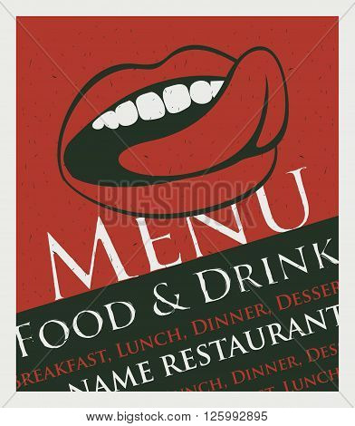menu for the restaurant with a picture of the human mouth to lick