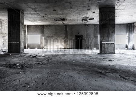 Abandoned building interior creepy background for halloween
