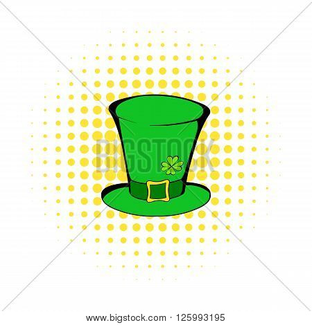 Green leprechaun cylinder hat icon in comics style isolated on white background