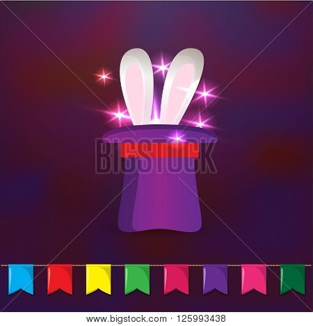 Magic hat with rabbit ears. Elements for party design. Magic trick on dark background.