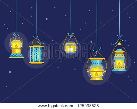 Illustration Featuring Colorful Night Lamps