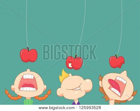 Illustration of a Kids Playing a Game of Apple Bobbing