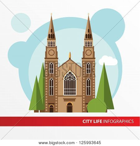 Church building icon in the flat style. Roman catholic church. Concept for city infographic. Different types of the cultural life of the city in the flat style.