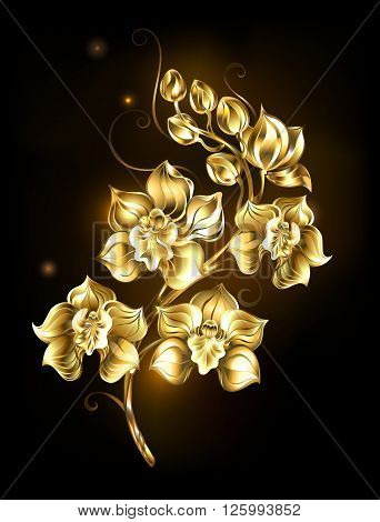 artistically painted golden sparkling jewelry orchid on a black background. Design with orchids