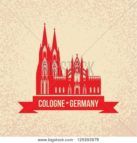 German city Cologne travel symbol.  Koln Dom Cathedral, Germany, Vector vintage silhouette with red ribbon. Landmark collection.