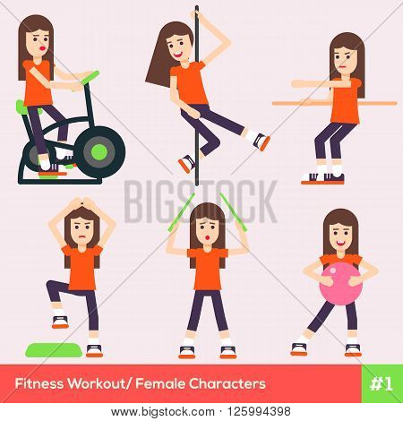 Set Of Six Fitness Female Characters 1