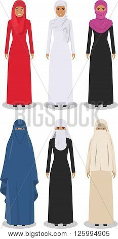 Detailed illustration of different standing arab women in the traditional national muslim arabic clothing isolated on white background in flat style.