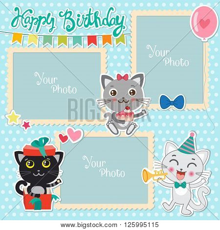 Birthday Photo Frames With Cute Cats. Decorative Template For Baby Family Or Memories. Scrapbook Vector Illustration. Birthday Children's Photo Framework. Photo Frames Making At Home.
