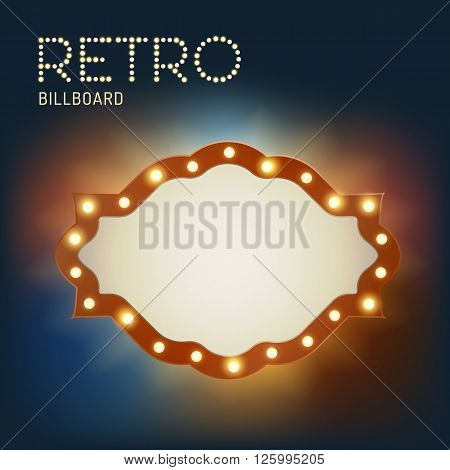 Vintage shining retro light banner with bright bulb and realistic lights with transparent glow. Colorfull vintage label template in traditional old style Vegas and casino design. Vector illustration