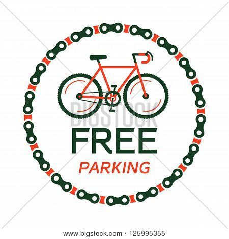 Bike free for parking vector with the hipster styled modern urban bike in the center of illustration. 100% vector easy to edit illustration.