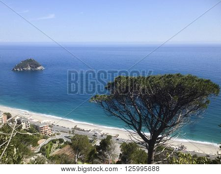 the isle of Bergeggi in ligurian riviera