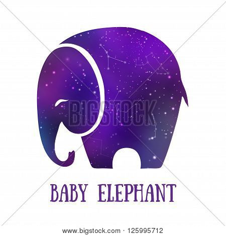 Greeting Beautiful card with Elephant. Frame of animal made in vector. Elephant Illustration for design, pattern, textiles. Hand drawn map with Elephant. Use for children's clothes, pajamas, web sites