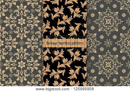 Vector seamless pattern. Set of luxury elegant baroque textures. Patterns can be used as background fabric print surface texture wrapping paper web page backdrop wallpaper and more