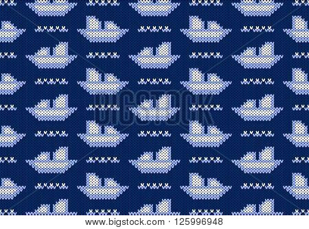 Knitted pattern the ships and waves on a blue background. Concept of love to sea subject. Handwork ornament. Seamless pattern. Vector illustration.
