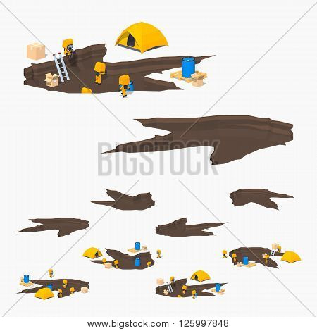 Monster footprint and the team of scientists. 3D lowpoly isometric vector illustration. The set of objects isolated against the white background and shown from different sides