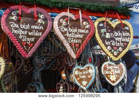 MUNICH, GERMANY - OCTOBER 02, 2015: Gingerbread hearts labeled with