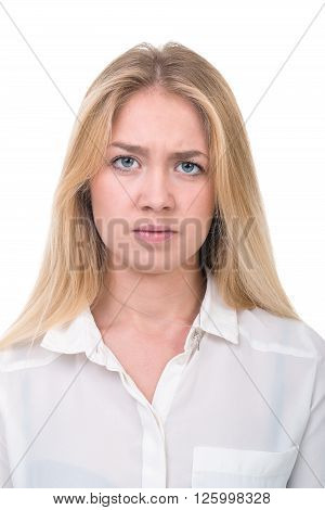 Portrait of sad and depressed woman isolated on white