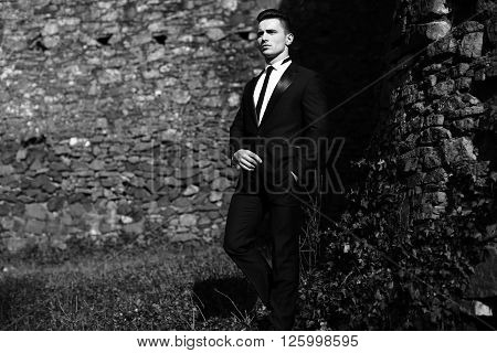 Handsome Man Poses Outdoor